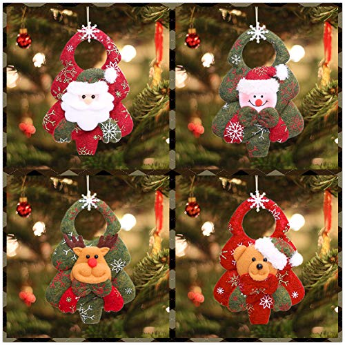 Bivan 8pcs Christmas Tree Ornaments, Xmas Hanging Decorations Toy Doll Santa Snowman Reindeer Christmas Tree Decorations Xmas Tree Hanging Pendants Gift for Home Fireplace New Year Decoration