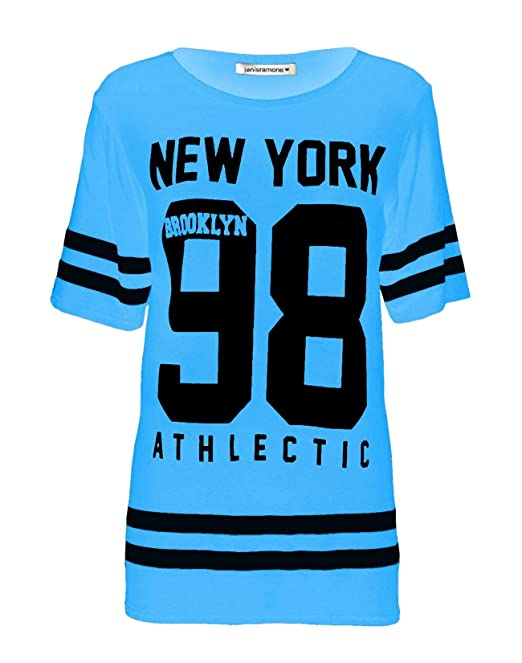 janisramone Womens Ladies New Baseball Newyork 98 Brooklyn Stripe Print  Oversized Baggy T Shirt Top Turquoise a2e46fd21
