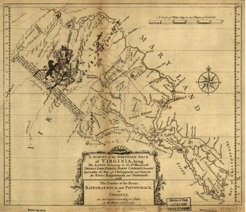 Map: A survey of the northern neck of Virginia, being the lands belonging to the Rt. Honourable Thomas Lord Fairfax Baron Cameron, bounded by & within the Bay of Chesapoyocke and between the rivers Ra