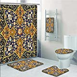 Designer Bath Polyester 5-Piece Bathroom Set, Arabic Islamic s Oriental Persian Print bathroom rugs shower curtain/rings and Both Towels(Large size)