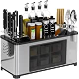 Stainess Steel Countertop Spice Rack Seasoning Box Shelf Cans Bottle Storage Jars Condiment Container Knife Holder Chopsticks