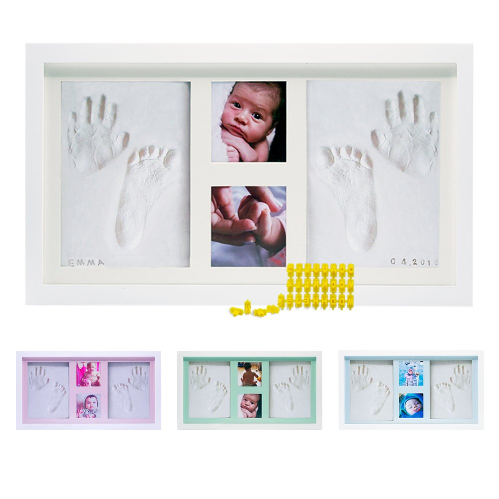 Baby Handprint Footprint Photo Frame Kit by Kubai for Newborn Girls & Boys (Free Date & Name Stamp) Choice of Mats to fit Room Wall Nursery - Mold Free - Best Personalized Gifts for Shower Registry.
