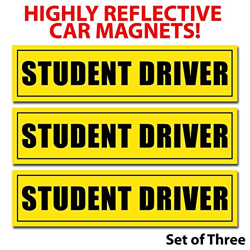 DCS Deals Set of 3 - Student Driver Magnets - Reflective Vehicle Car Sign-black Letters on a Yellow Reflective Background 12 X 3 X 0.1 Inches round corners