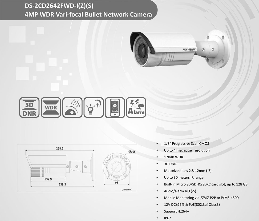 amazon com : hikvision ds-2cd2642fwd-izs 4mp vari-focal bullet network  camera poe ip67 outdoor lens 2 8~12mm audio : camera & photo