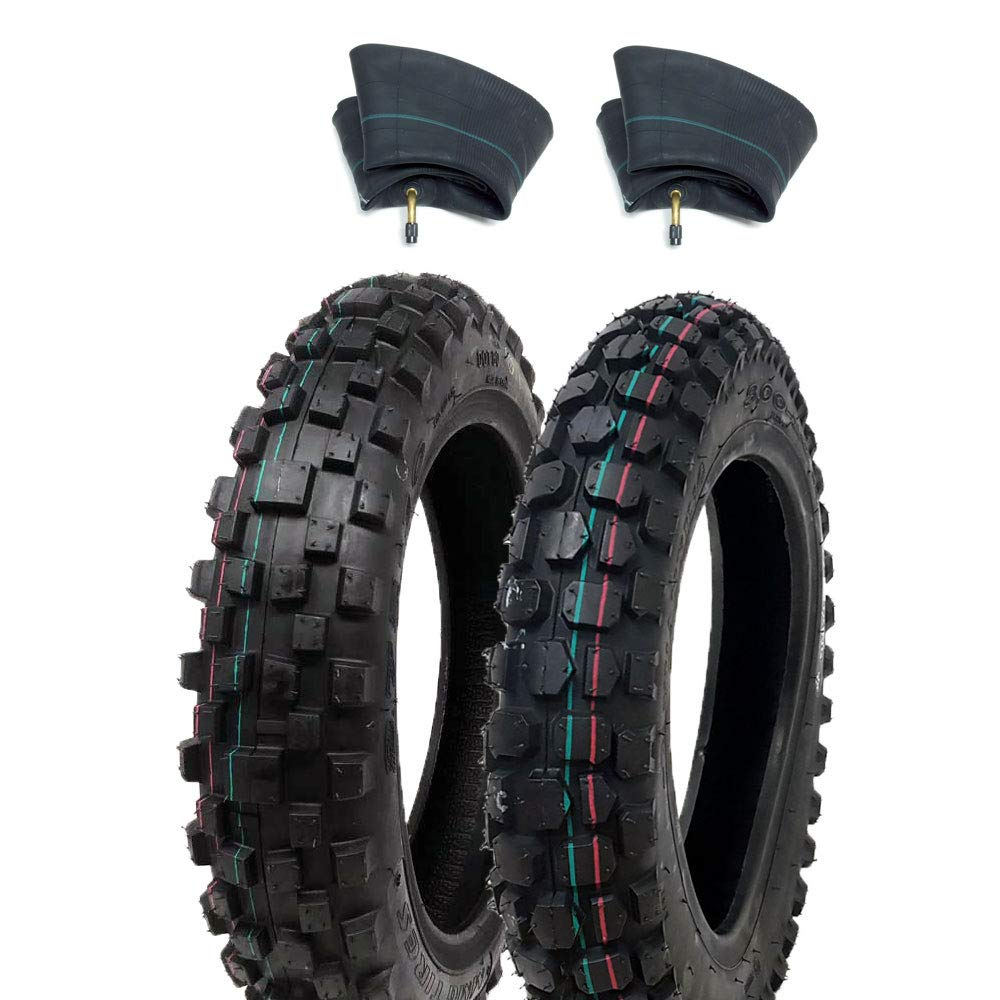 TIRE SET: Knobby Tires Front 2.50-10 and Rear 2.75-10 with Inner Tubes TR4 - Mini Dirt Bike Offroad Motocross Pattern (MMG)