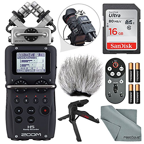 Zoom H5 Handy Recorder Deluxe Bundle with Remote, Handheld/Table Tripod, Windscreen,16 GB, Batteries & FiberTique Cleaning Cloth by Photo Savings