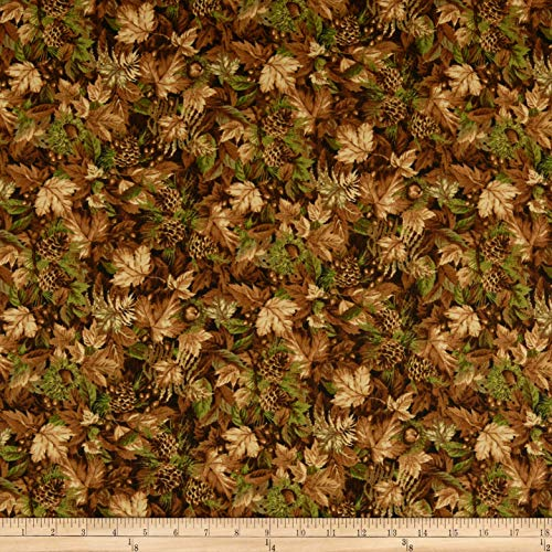 Northcott Fabric Flannel (Northcott Algonquin Flannel Leaves Fabric, Tan/Multicolor, Fabric By The Yard)