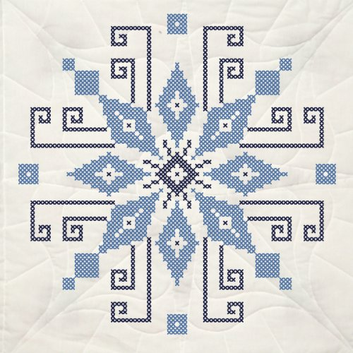 Fairway 95211 Quilt Blocks, Pin Wheel Design, White, 6 Blocks Per Set - Cross Quilt Stamped Stitch Blocks