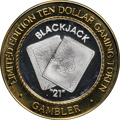 "1990 Era ""Black Jack 21"" Ten Dollar 0.999 Silver Casino Strike / Token, Reno NV Uncirculated"