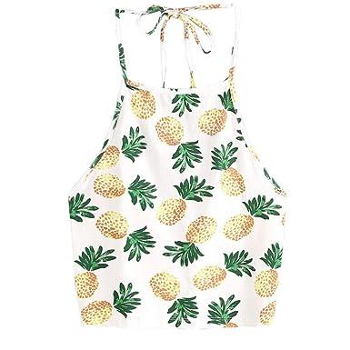 a3c7e07e75030 BCDshop Clearance Women Pineapple Cami Crop Tops Summer Halter Sleeveless  Tank Shirt (Yellow