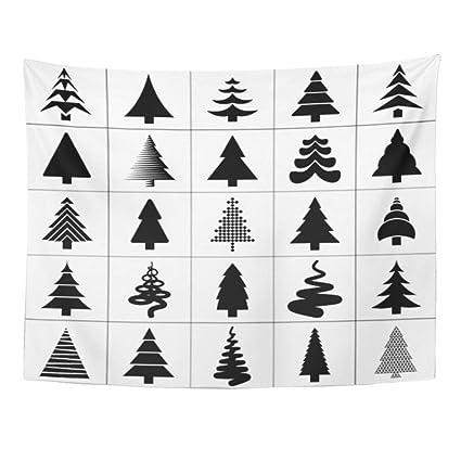 Hanging Christmas Ornaments Silhouette.Amazon Com Emvency Wall Tapestry Xmas Christmas Tree