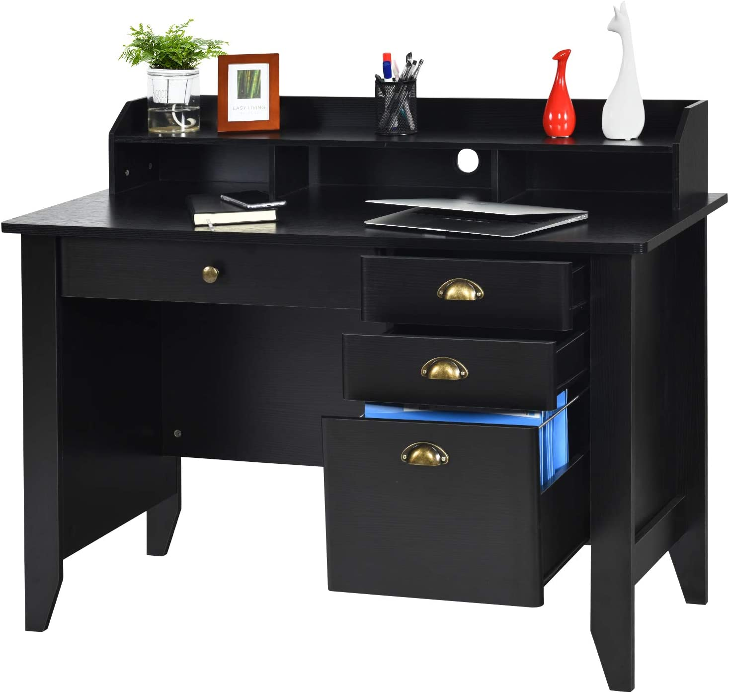 Computer Desk with 4 Drawers and Hutch Shelf, Vintage Style Writing Desk with Spacious Sturdy Desktop, Perfect Size for Home Office Apartment, with Black Wood Grain Finish