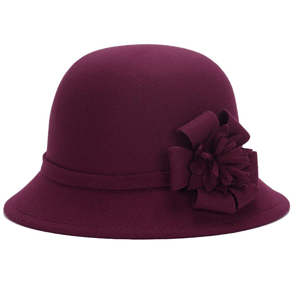 MatchLife Elegant Women's Vintage Bowknot Winter Hat Warm Wedding Bowler Hat style 3 burgundy