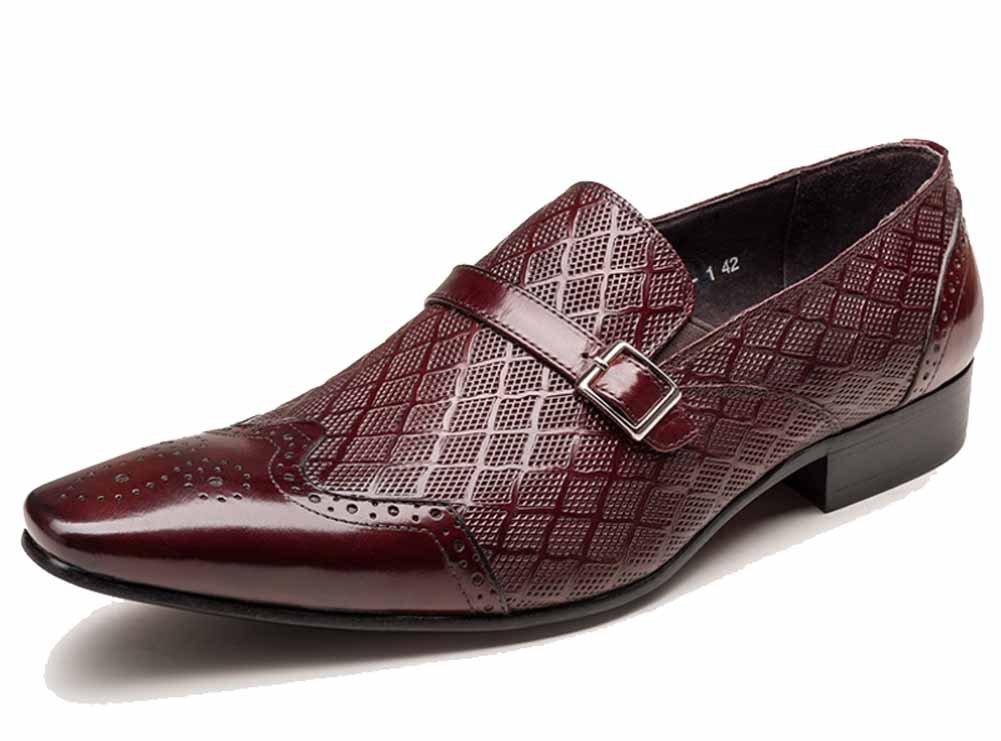 GLSHI Männer England Oxford New Geprägte Laser Geschnitzte Atmungsaktive Schuhe Schnalle Slip on Fashion Niedrig Heel Schuhe