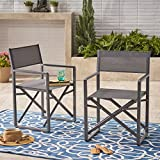 Great Deal Furniture | Teresa | Outdoor Mesh and Aluminum Director Chairs | Set of 2 | in Grey/Dark Grey