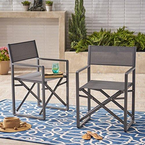 Cheap Great Deal Furniture | Teresa | Outdoor Mesh and Aluminum Director Chairs | Set of 2 | in Grey/Dark Grey
