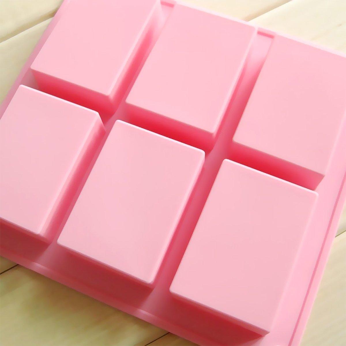 Molde de jabón de silicona, 6 moldes de cavidad para jabón, jabón de silicona premium y molde de resina para manualidades caseras: Amazon.es: Hogar