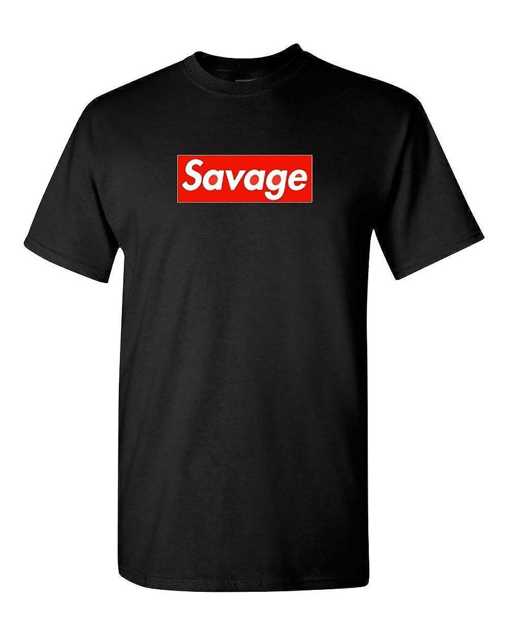 6e855eb1517d Amazon.com: Supreme Savage Box Logo T Shirt - 21 Savage: Clothing
