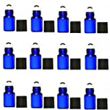 Elufly Cobalt Blue 1ML/2ML Thick Glass Roll On Bottles with Stainless Steel Roller Balls-2ML Dropper Included (12, 1ML)