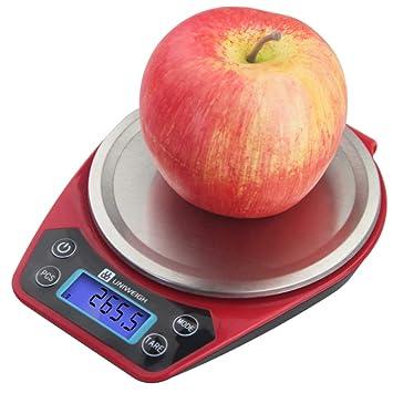 QMKJ Balanza electrónica Escala de cocción de Alta precisión Escamas de Cocina de Acero Inoxidable para Uso doméstico 1KG medición en g oz GN CT DWT ozt: ...