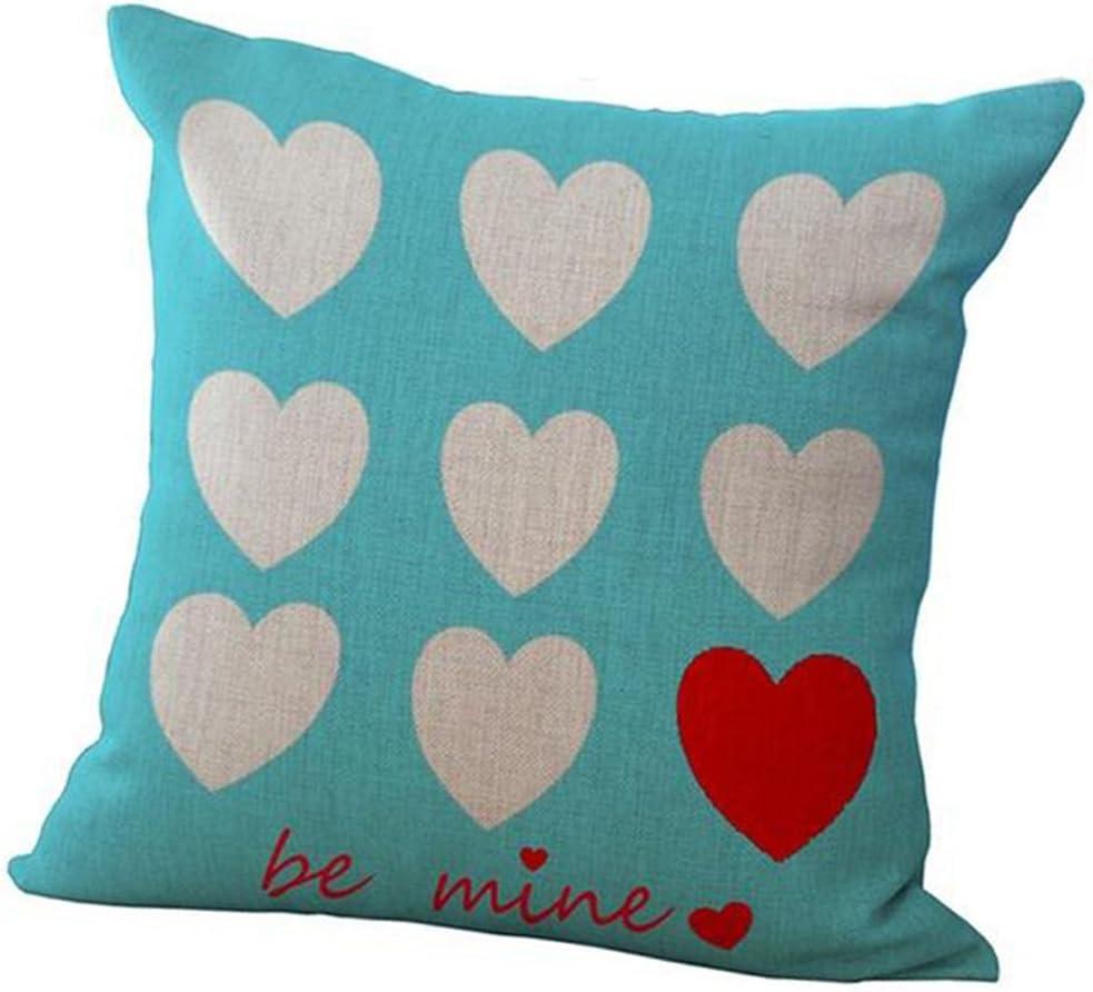 Amazon Com Be Mine Fashion Cotton Linen Square Decorative Throw Pillow Case Cushion Cover 18 X 18 Love Heart Home Kitchen