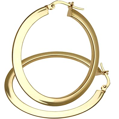Citerna 9 ct Yellow Gold Ultra Slim Flat Hoop Earrings of 35 mm Diameter QqWkhg3