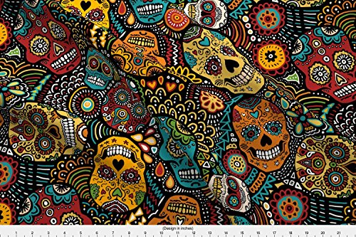 Calavera Fabric - Calavera Sugar Skull Day of The Dead Skull Mexico Halloween - by Lusykoror Printed on Fleece Fabric by The -