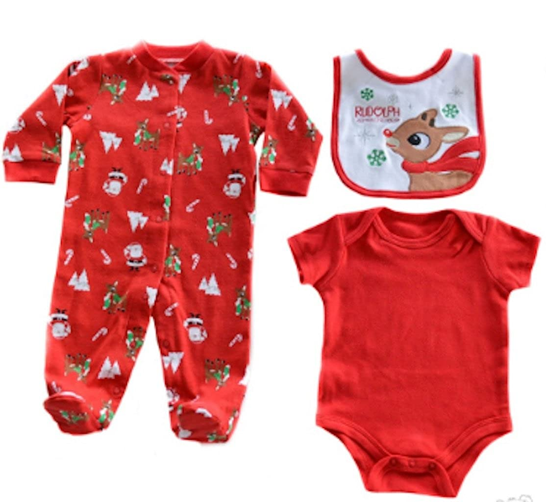 3 Piece Reindeer Christmas Baby Set. Sleepsuit, Bodysuit, Bib