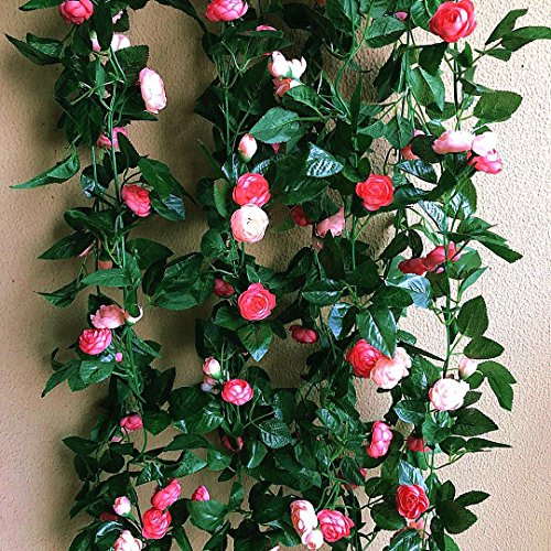 3Pack(20.7Feet) Artificial Roses Vine Fake Rose Garland Plant For Home Hotel Wedding Party Garden Craft Art Decor (Pink,Hot (Hot Pink Rose Bouquet)