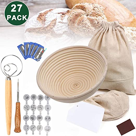 ZGoEC Round Proofing Basket Banneton Set Proving Basket Kits