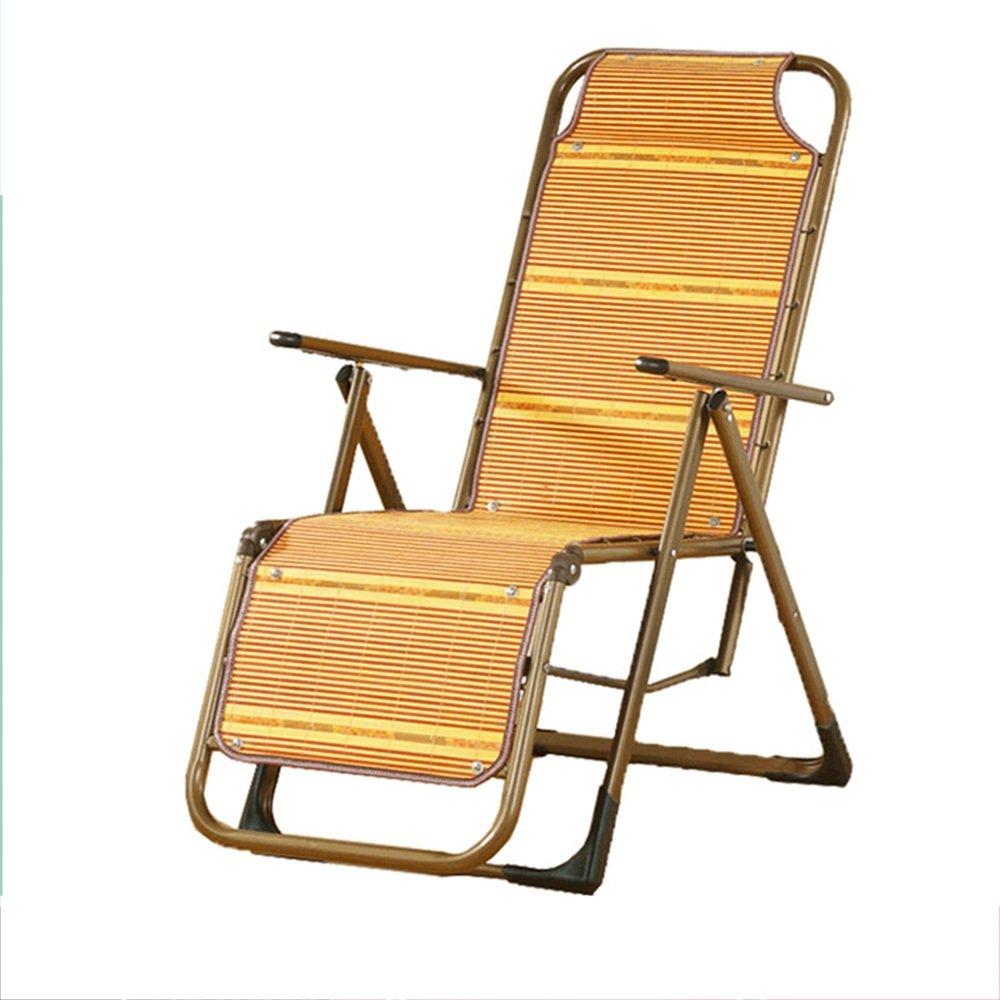 Super Kh® クールチェア竹シートリクライナー折りたたみ椅子高齢妊婦シエスタチェア調節可能オフィス換気シングルベッド   B07L6359KB