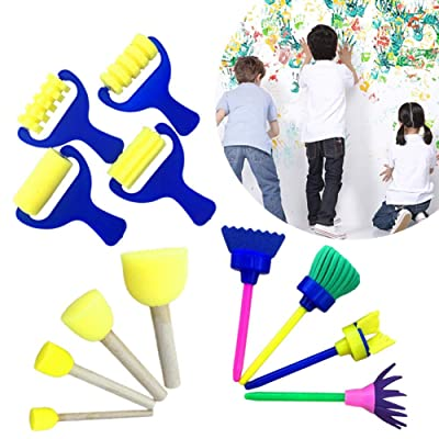 Kids Sponge Paint Set - 12-Piece Sponge Brush Foam Painting Tools with Handle - Children Toddler DIY Graffiti Painting Tools Art and Craft for Supplies : Baby