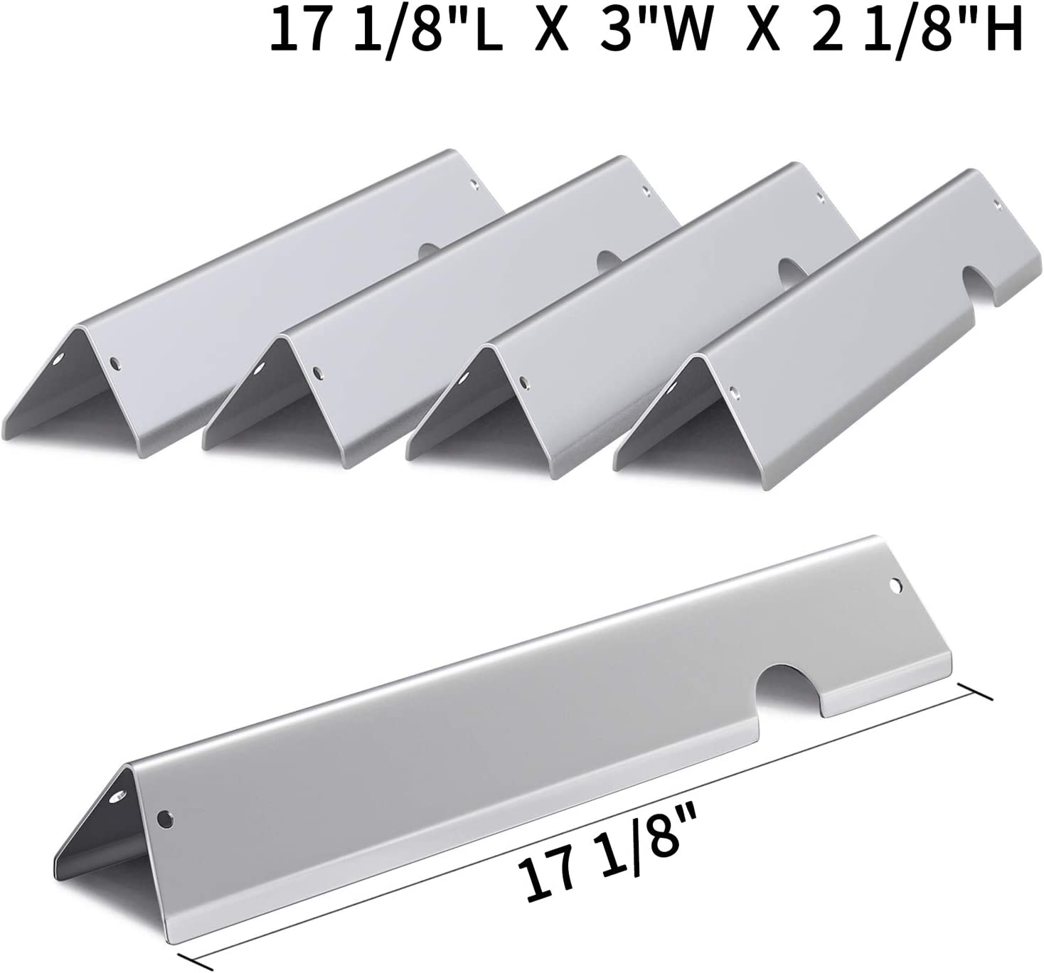 "SHINESTAR 17"" 66032/66795 Flavorizer Bars for Weber Genesis II 300 Series Gas Grill, Heavy Duty Stainless Steel, 5-Pack"
