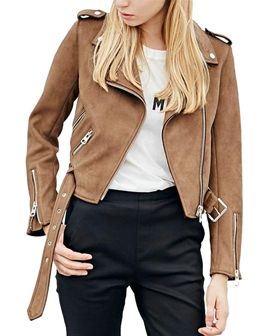 Pivaconis Women Waistband Lapel Fall Winter Outer Wear Biker Suede Leather Tops Jacket