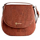 Corkor Saddle Bag for Women Crossbody Non-Leather Vegan Cork Red Color