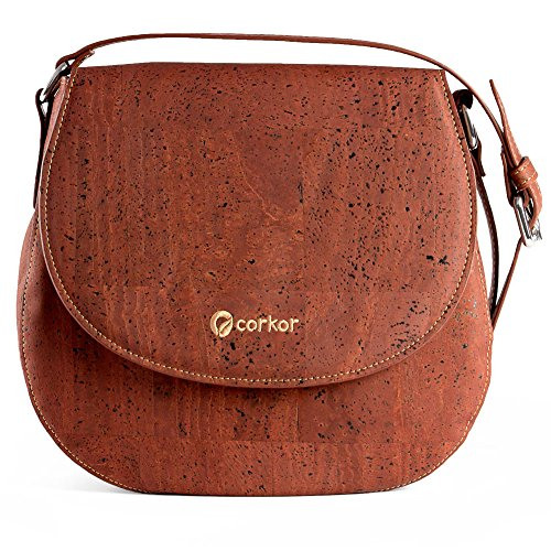 Corkor Saddle Bag for Women Crossbody Non-Leather Vegan Cork Red Color by Corkor