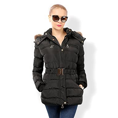 f8f003fde COUTUDI- Women Waterproof Winter Jacket Mid-Length Fur Hooded ...