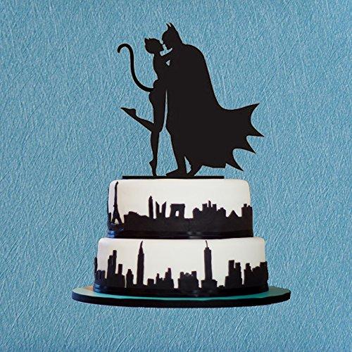 Batman Cake Topper,Batman and Cat Woman Silhouette,Bridal Shower Topper,Custom Cake Topper,Wedding Cake Decor