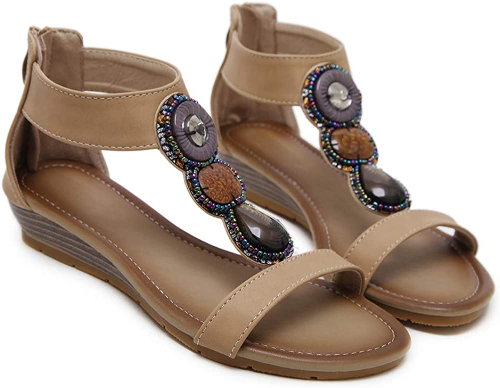 Desirepath Wedge Shoes for Women Open Toe Beaded Colorful Jeweled Sandals Comfort Walking Shoes