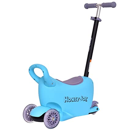 a027171c0cf GYMAX Kids 3 Wheel Scooter, 3 in 1 Ride On Scooter, Removable Seated  Suitcase with Adjustable T-bar, Non-slip Surface, Children Gift (Blue):  Amazon.co.uk: ...