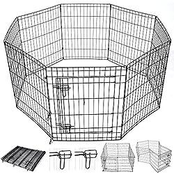 "Yescom 30"" Pet Dog Playpen Exercise Fence Cage Kennel Play Pen with Door 8 Panel Outdoor Indoor"
