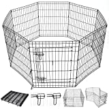 Yescom 30″ Tall Pet Dog Playpen Foldable Metal Exercise Fence Cage Kennel with Door 8 Panel Outdoor Indoor