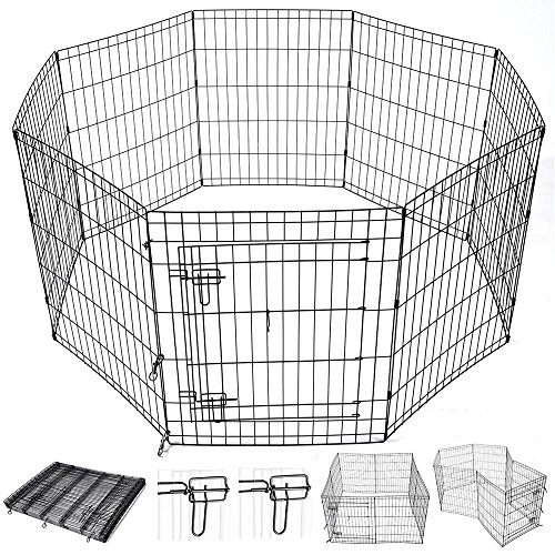 Cheap Yescom 30″ Pet Dog Playpen Exercise Fence Cage Kennel Play Pen with Door 8 Panel Outdoor Indoor