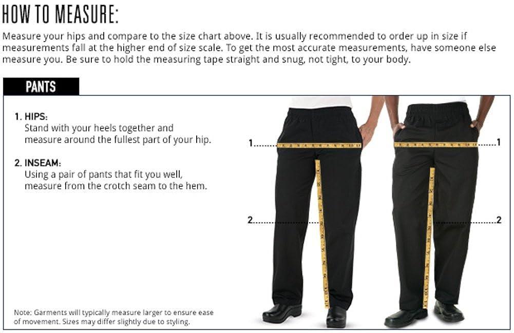 Men/'s Fishbone Print Chef Pant XS-3X