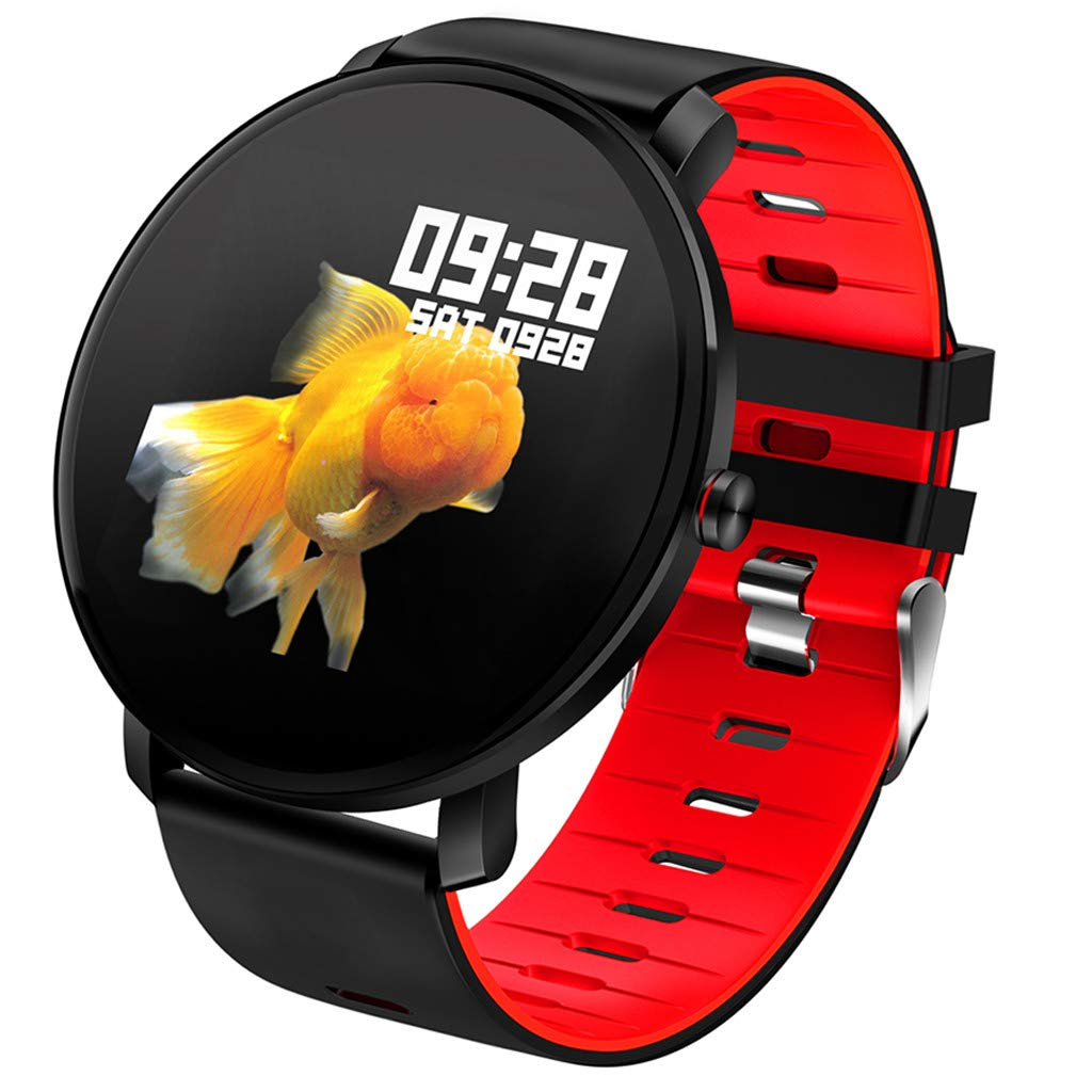 For Android & iOS, Waterproof Sport Smart Watch Fitness Heart Rate Tracker Blood Pressure Monitoring Smart Bracelet (Red)
