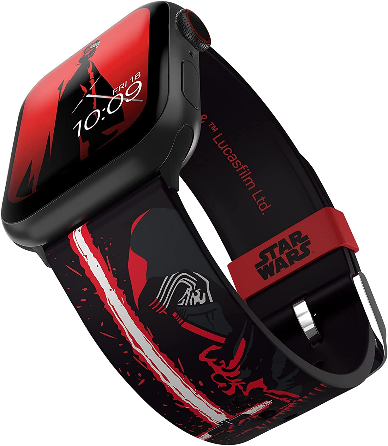 STAR WARS - Kylo Ren Edition Smartwatch Band - Officially Licensed, Compatible with Apple Watch (not Included) - Fits 38mm, 40mm, 42mm and 44mm