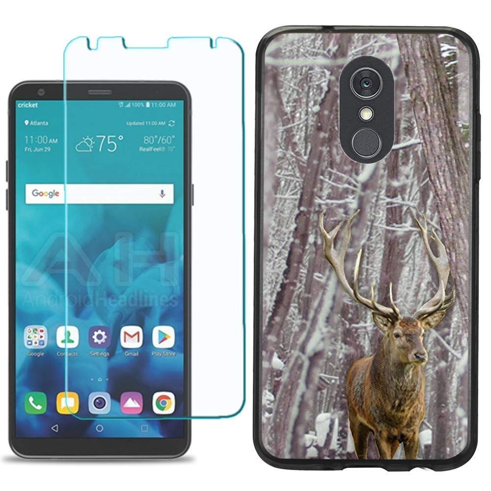 for LG Stylo 4 / Stylo 4 Plus Phone Case, Slim-Fit TPU Case (Black Bezel) with Tempered Glass Screen Protector, by One Tough Shield - Deer/Snow/Camo