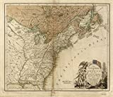 Antique old Canvas Reproduction 24 x 31 Map from c.1783 The United States of America laid down from the best authorities, agreeable to the Peace of 1783. x1034