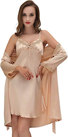 Ladies Pink Satin Lace Nightie Chemise Short Slip PJs Pyjamas Cami Set