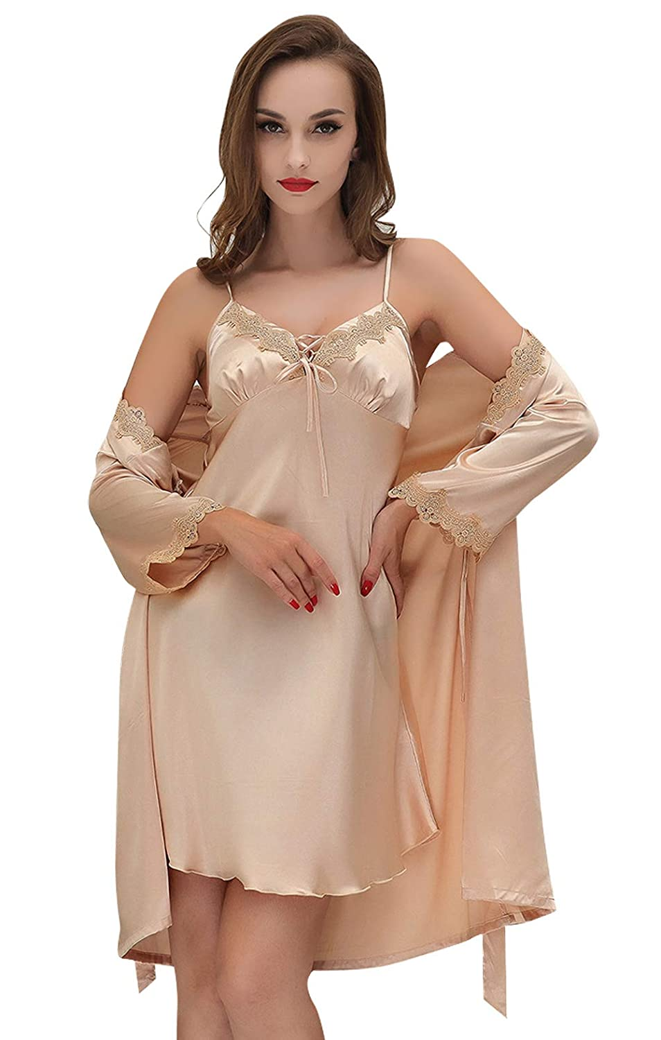 Aivtalk Womens Half Sleeve Satin Pajama Set 2 Piece Robe and Nightgown Set at Amazon Womens Clothing store: